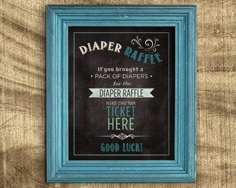 Diaper Raffle Sign, Where to leave Diaper raffle tickets, Chalkboard Baby Shower Game, Printable Baby Shower Signs, Co-ed baby shower game