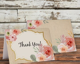 Vintage Thank You Card, Baby Shower Thank You, Folded Thank You, Rustic, Floral, Burlap, Cottage Chic, Pink, Gold, Blush, Sparkle