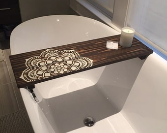 Bath Caddy | Flower Mandala Caddy | CUSTOMIZE BATH Caddy | Bath Tub Tray | Tub Caddy | Bath Tray