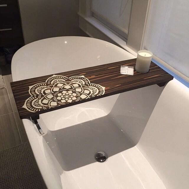 Bath Caddy | Flower Mandala Caddy | CUSTOMIZE BATH Caddy | Bath Tub Tray | Tub  Caddy | Bath Tray   Housewarming Gift