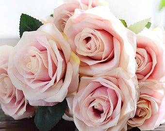 French Style Artificial Silk Rose Bouquet Pink