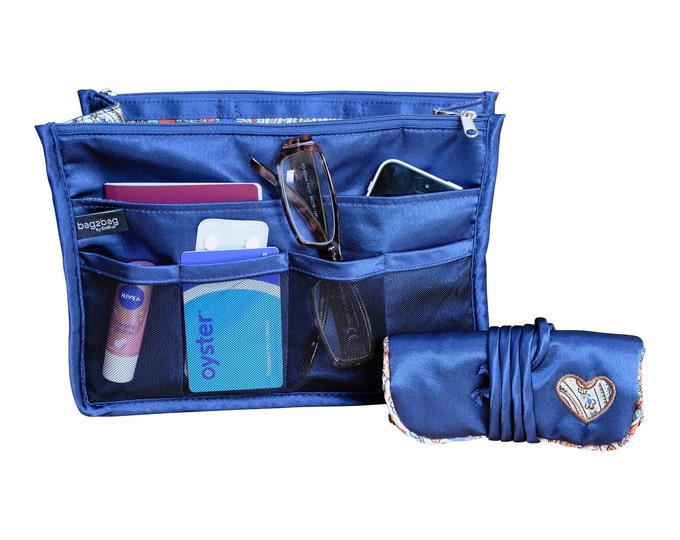 Luxury Purse ORGANIZER Insert, Purse Insert, Bag Organizer, Handbag Organizer,  Blue and paisley satin with  matching jewellery roll