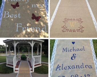 Ivory or White Aisle Runner, Burlap and Lace MONOGRAMMED Aisle Runner - FREE SHIPPING; Wedding Aisle Runner, Rustic Wedding, Country Wedding