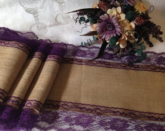 """Rustic Table Runner - Burlap and EGGPLANT/GRAPE PURPLE Lace Wedding Table Runner; 14"""" Width; Country Farmhouse, Outdoor Wedding/Shabby Chic"""