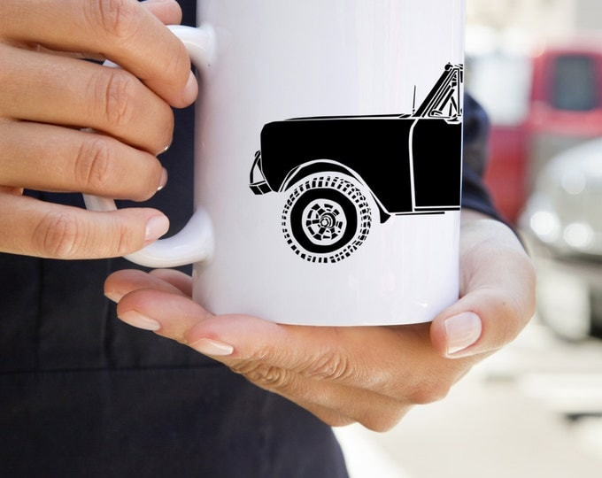 KillerBeeMoto: U.S. Made Limited Release Vintage Off Road Vehicle Truck Scout 2 Coffee Mug (White)