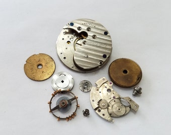Antique, Vintage, Steampunk, Watch, Pocket Watch, Kit, Columbia, Cogs, Gears, Wheels, Movement, Lot, Jewelry, Beading, Supply, Supplies