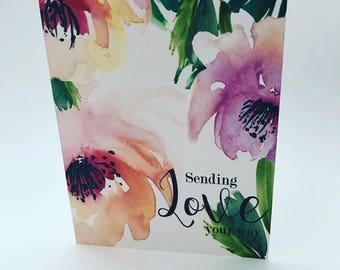 Sending Love Watecolor Flower Greeting Card