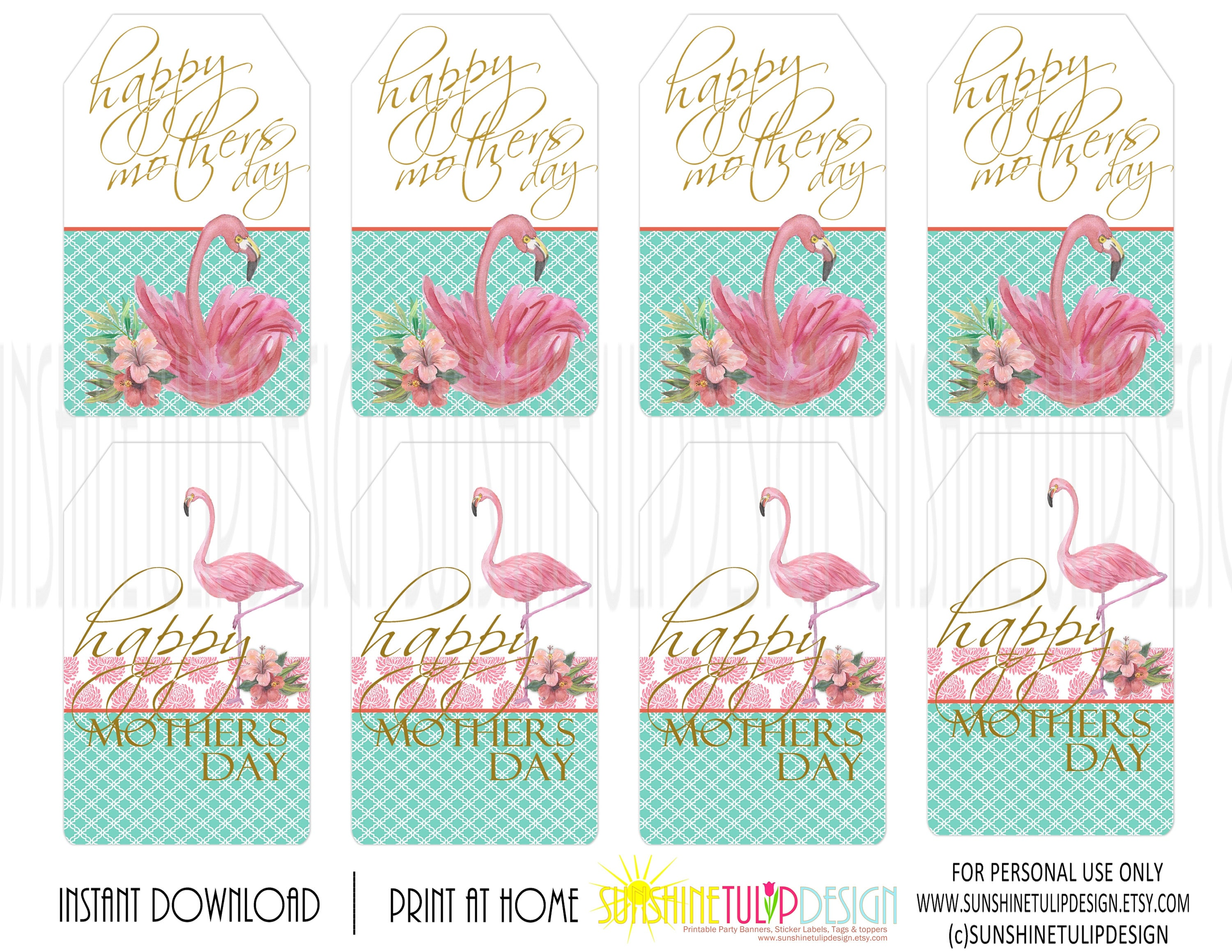 Mother S Day Tags: Printable Mothers Day Gift Tags, Printable Flamingo Mother
