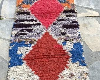 """Moroccan rug boucherouite 408 (boucharouette) 71 x 24"""""""