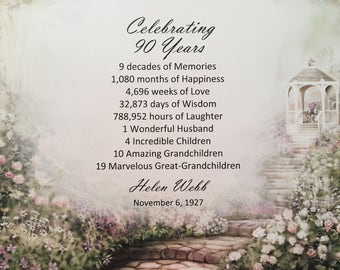 90th Birthday Gift, Born in 1928, Personalized, Birthday Gift Idea, 1928 Milestone Gift, Party Decor, 90 Years Old, For Her, Floral Gazebo