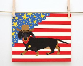 Get a Long Little Doggie 8x10 Print // Dachshund, Patriotic, America, Cowboy