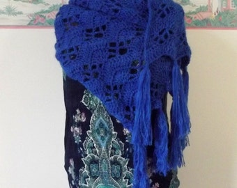 Handmade Shawl Crochet Angora Super Scarf Royal Blue Boho Wrap Soft Fringe Nursing Privacy Cover