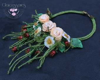 Rose necklace /Flower necklace / Nature necklace / Statement necklace / Floral necklace / Botanical necklace /dog-rose/Polymer clay necklace
