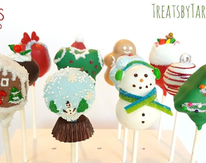 Featured listing image: Christmas variety cake pops. Stocking treats. Christmas treats. Christmas cake pop. Christmas party decor. Tree pop. Snow globe. Gingerbread