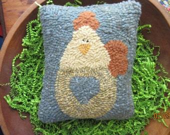 Primitive Hooked Rug Spring Chicken,  Easter Chick Pillow Folk Art SALE