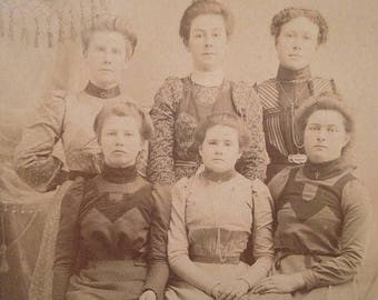 ON SALE Antique Cabinet Card Photograph Photo Six Pretty Young Women Old Vintage 1800's