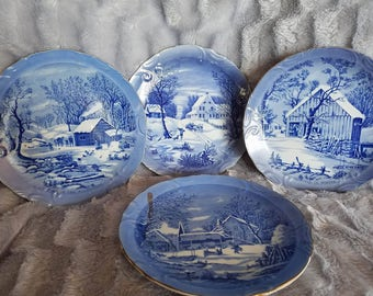 Currier and Ives Vintage Blue Wilderness Plate Set