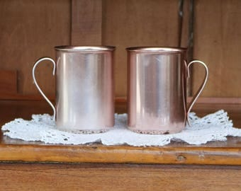 FREE SHIPPING Within the U.S. ~Two (2) Bascal Drinking Glasses/Tumblers/Mugs/Cups ~ Pink/Peach ~ 1950s ~ Aluminum ~ Italy ~ Moscow Mule Cups