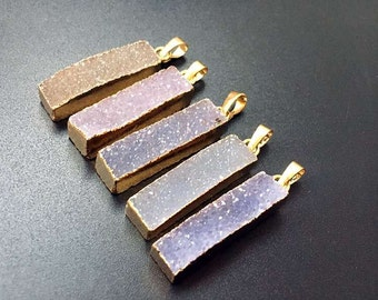 SALE Tiny Sparkly Natural Agate Druzy Rectangle Bar Pendant Charm with Gold Electroplated Edges -- Wholesale Price 1, 3, 5, 10 (S5W2-11)