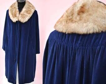 Vintage 1950s Blue Velvet Opera Coat with Removable Faux Fur Collar