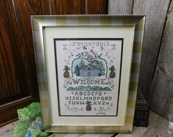 Vintage Counted Cross Stitch Welcome Sampler