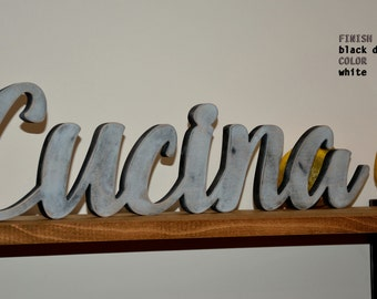 Wood Sign Words Home Decor Kitchen- Rustic CUCINA- BLACK DISTRESSED Cucina