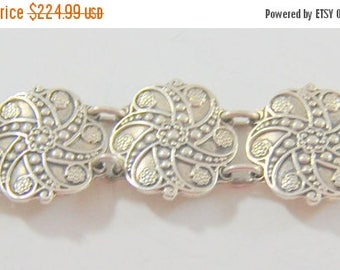 SALE Vintage Taxco Sterling Silver Bracelet Heavy Pinwheel Spiral Links Signed 925 54+ Grams Substantial