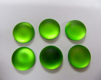 Cabochon, Luna Soft, 14 MM, Lime, Round, Wire Wrapping, Bead Embroidery, Bright Colors, Neon Color, Glow