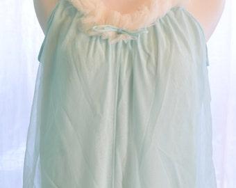 60s Nylon Pajamas Romper Jumpsuit Baby Blue Genie Harem Lingerie Medium Lisette