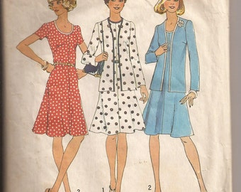 Simplicity 6749 Misses Dress and Jacket Pattern, Size 12, Bust 32. Vintage 1974