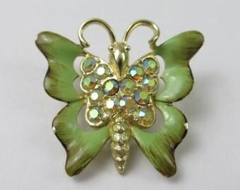Vintage Enamel and Rhinestone Butterfly Brooch