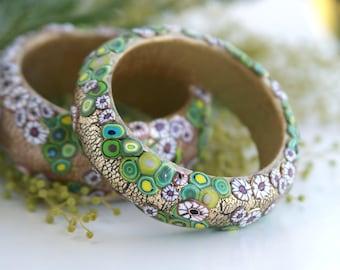 Gustav Klimt Polymer clay jewelry Flower bracelet Modern Art Nouveau gift for women Gold bracelet with Flower handmade gift Valentines day
