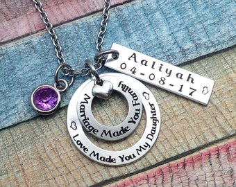 Adoption Gift, Blended Family Gift, Mommy Necklace, Adoption Jewelry, Step Daughter Gift, Adoptive Foster Parent Gift, ENGRAVED