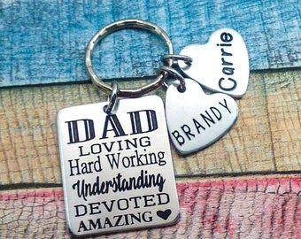 Fathers Day Gift, Engraved Keychain, Custom Key Chain, Dad Key Ring, Personalized Key chain for Him, gift for Dad, Personalized Grandpa Gift