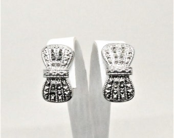 Bow Earrings - Vintage, Silver Tone, Marcasite, Clip on