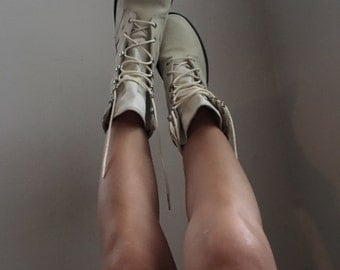 Vintage Gianni Versace Off-White Combat Boots