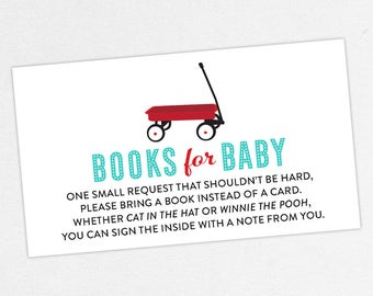 INSTANT DOWNLOAD Books for Baby Card, Baby Shower Books for Baby, Books for Baby PDF, Diy, Red Wagon, Radio Flyer, Retro, Red, Turquoise