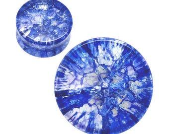 Ear Plugs ear gauges blue  Shattered Quartz double saddle