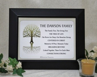 Christian Gift, Personalized Family, Family Tree Art, Family Wall Decor, Wedding Gift, Parent Gift, Family Name Sign, 6x8 Black Wooden Frame