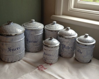 Six FRENCH enamel VINTAGE kitchen canisters. How SHABBY do you like your chic?