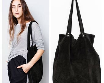 Black suede leather tote bag,Large black bag,black shoulder suede tote bag