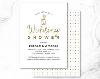 Printable Couples Shower Invitation, Couple Wedding Shower Invite _ CPS17_09 Gold