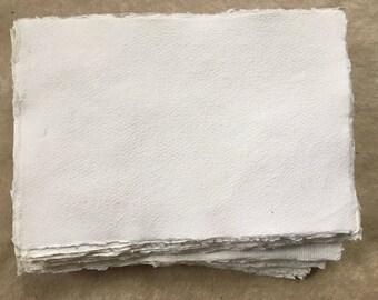 20 x White A7 Cotton Rag, Khadi handmade paper, 7 x 10cm, 2.75 x 4 inches, medium surface, invitation size handmade paper
