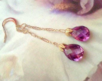 Genuine Amethyst Earrings, Handmade Earrings, Genuine Amethyst, Dangle Earrings, Bridal Earrings, Cottage Chic, Boho, Earrings, Gift for Her