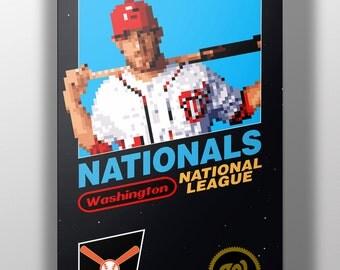 Washington Nationals Retro NES Box Art Print- Bryce Harper