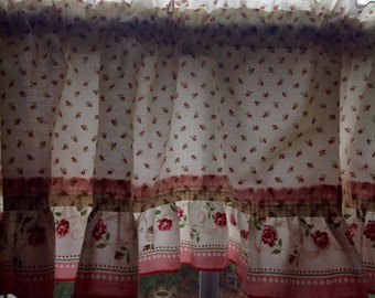 Vintage curtain Valence...Tiny red and pink roses....ruffled
