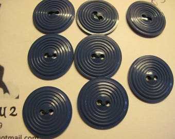 8 air force blue 1940's buttons with concentric circle detail 24 mm diameter. 02APR 08