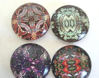 4 Pattern Glass 20mm dome cabochons