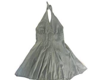 Vintage Black and White Halter Dress