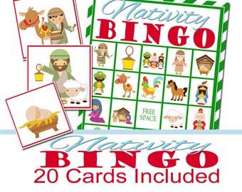 Nativity Christmas Party Bingo Game, Christmas Party Game, Religious Christmas, Christmas Bingo, Nativity Scene, Church Party Game, Religion